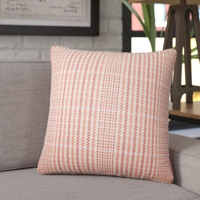 Songy Plaid Cotton Throw Pillow Color: Melon