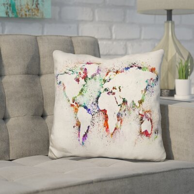 Corlew World Map Paint Splashes Outline Throw Pillow