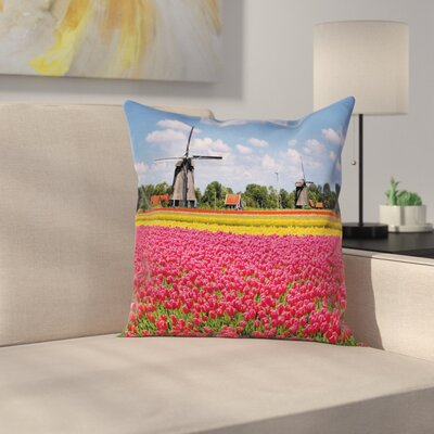 Windmill Decor European Tulips Square Pillow Cover Size: 18 x 18