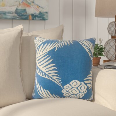 Dre Floral Down Filled 100% Cotton Throw Pillow Size: 18 x 18, Color: Navy