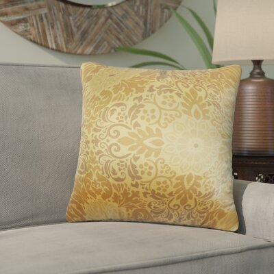 Black Raven Floral Cotton Throw Pillow Color: Gold
