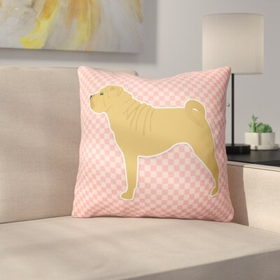 Shar Pei Indoor/Outdoor Throw Pillow Size: 14 H x 14 W x 3 D, Color: Pink