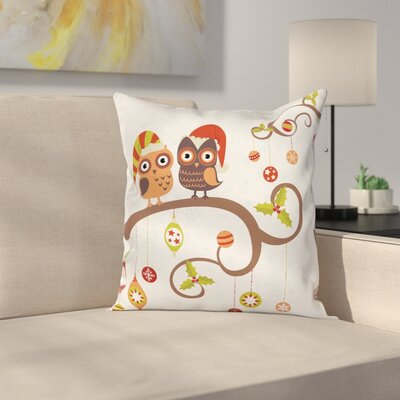 Christmas Noel Owls Folkloric Square Pillow Cover Size: 16 x 16