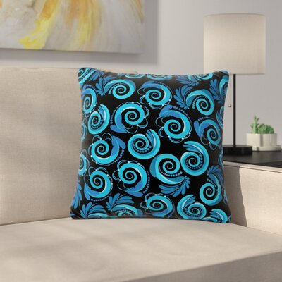 Maria Bazarova Waves Outdoor Throw Pillow Color: Black/Aqua, Size: 16 H x 16 W x 5 D
