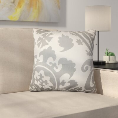 Driskill Stukes Floral Cotton Throw Pillow Color: Light  Gray
