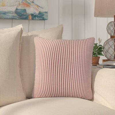 Montego Stripes Cotton Throw Pillow Color: Red