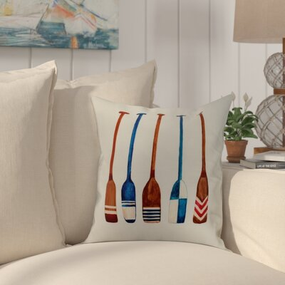 Bryson Oar Multi Painted Throw Pillow Color: Ivory, Size: 26 x 26