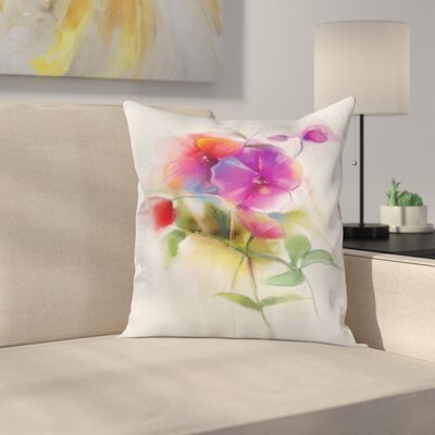 Flower Blooming Orchid Pastel Square Pillow Cover Size: 16 x 16