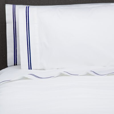 Fernisky Double Stripe Embroidered Sham Color: Navy
