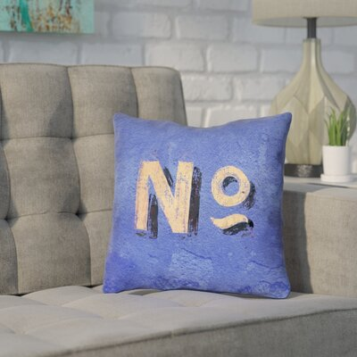 Enciso Graphic Wall Pillow Cover with Zipper Size: 26 x 26, Color: Blue/Beige
