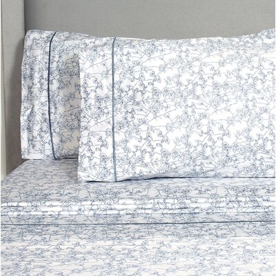 Kunze Cherry Blossoms 400 Thread Count Pillowcase Color: Dusty Blue