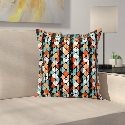 Geometric Graphic Print Pillow Cover with Zipper Size: 18 x 18