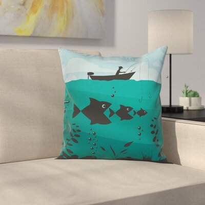 Fishing on Boat Nautical Square Pillow Cover Size: 18 x 18