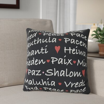 Words of Peace Throw Pillow Size: 20 H x 20 W, Color: Black