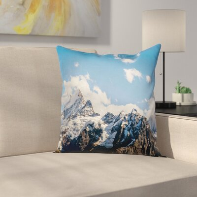Nature Mountain Natural Beauty Square Pillow Cover Size: 16 x 16
