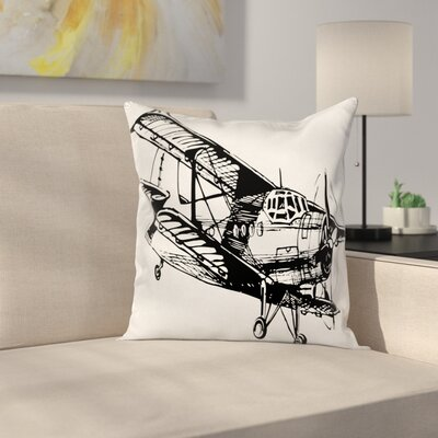 Vintage Airplane Sketch Art Square Pillow Cover Size: 20 x 20