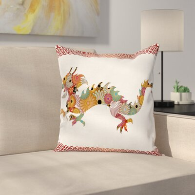 Dragon Floral Ornate Folk Body Square Pillow Cover Size: 18 x 18