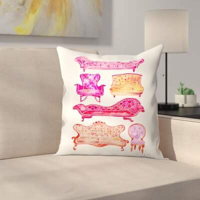 Victorian Lounge Throw Pillow Color: Pink, Size: 18 x 18