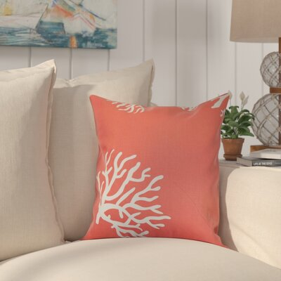 Sunil 100% Cotton Throw Pillow Color: Coral White, Size: 18 x 18
