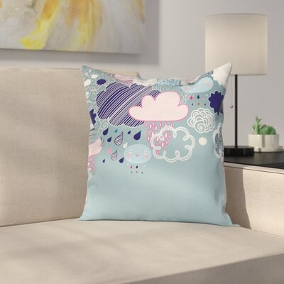 Kids Room Decor Cartoon Rain Square Pillow Cover Size: 16 x 16