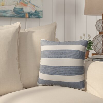 Melton Burlap Indoor/Outdoor Throw Pillow Size: 26 H x 26 W x 5 D, Color: Blue/ White/ Grey