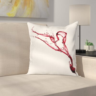 Wine Splashing from Glass Square Pillow Cover Size: 18 x 18