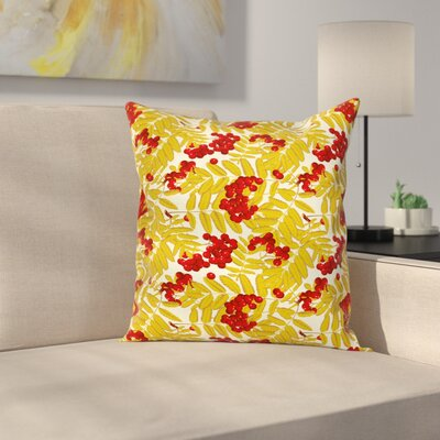 Juicy Ripe Fruits Leafage Square Pillow Cover Size: 16 x 16