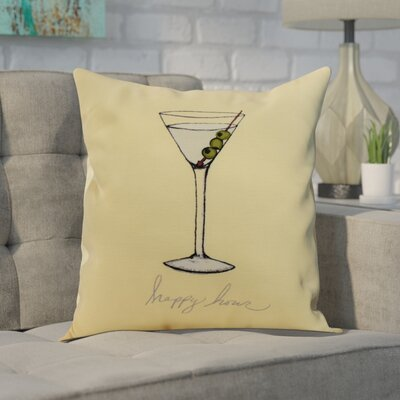 Crosswhite Martini Glass Happy Hour Geometric Print Indoor/Outdoor Throw Pillow Color: Yellow, Size: 18 x 18