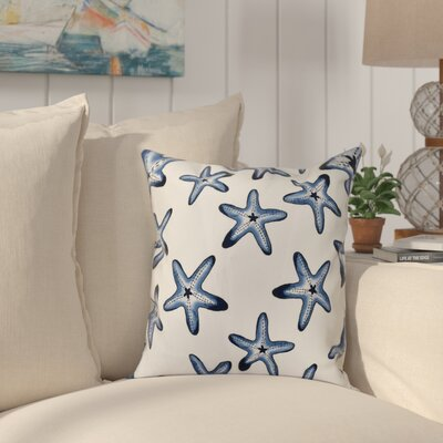 Cedarville Soft Starfish Geometric Print Outdoor Throw Pillow Size: 18 H x 18 W, Color: White/Blue