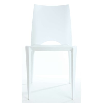 Ruzicka Modern Crescent Stackable Dining Chair Color: White
