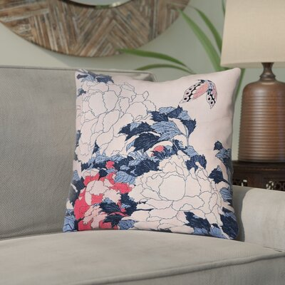 Clair Peonies and Butterfly Indoor Throw Pillow Size: 18 H x 18 W, Color: Blue/Pink