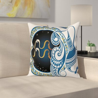 Authentic Aquarius Sign Square Pillow Cover Size: 18 x 18
