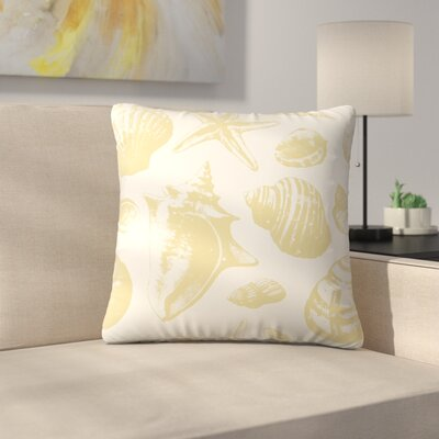 Seashells Pattern Repeat Tile Throw Pillow Color: Light Gold/Cream, Size: 16 x 16