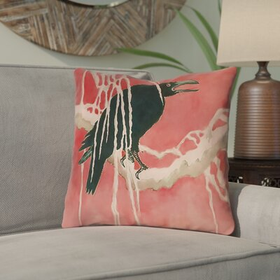 Montreal Crow and Willow Linen Throw Pillow Size: 16 x 16