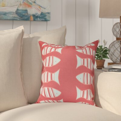 Grand Ridge Somethings Fishy Coastal Throw Pillow Size: 26 H x 26 W, Color: Coral