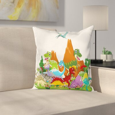 Dinosaur Funny Creatures Trees Square Cushion Pillow Cover Size: 18 x 18