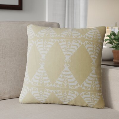 Roi Graphic Cotton Throw Pillow Color: Camel