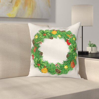 Christmas Evergreen Wreath Art Square Pillow Cover Size: 18 x 18