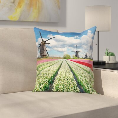 Windmill Decor Vivid Farmland Square Pillow Cover Size: 16 x 16