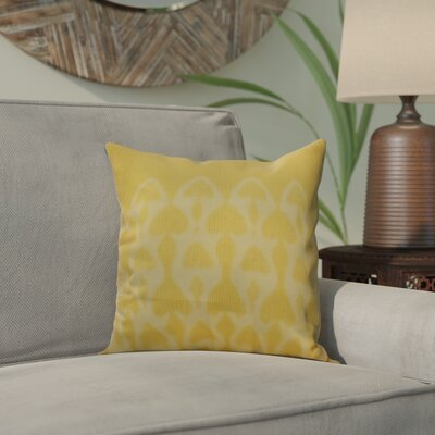 Viet Watermark Throw Pillow Size: 16 H x 16 W, Color: Yellow
