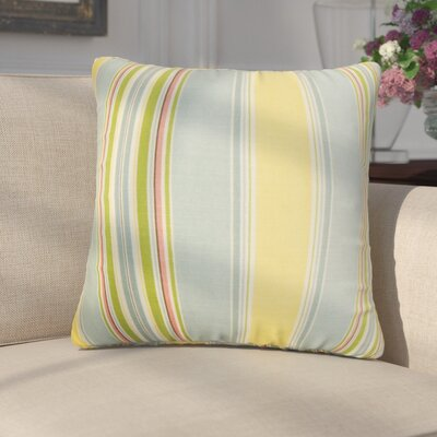 Emelie Stripes Cotton Throw Pillow Color: Blue