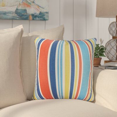 Frances Stripe Cotton Throw Pillow Color: Red