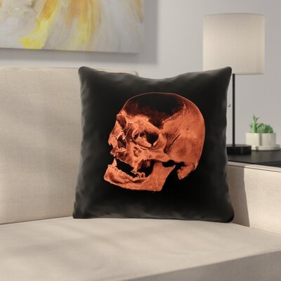 Skull Outdoor Throw Pillow Color: Red/Black, Size: 18 x 18
