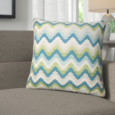 Zariyah Zigzag Throw Pillow Color: Aqua/Green