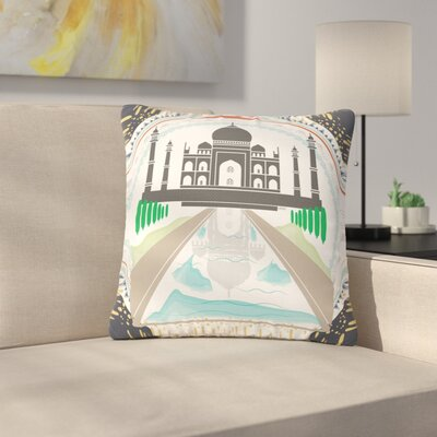 Famenxt The Taj Mahal India Outdoor Throw Pillow Size: 16 H x 16 W x 5 D