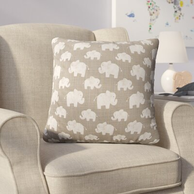 Westminster Elephant Linen Throw Pillow Color: Gray