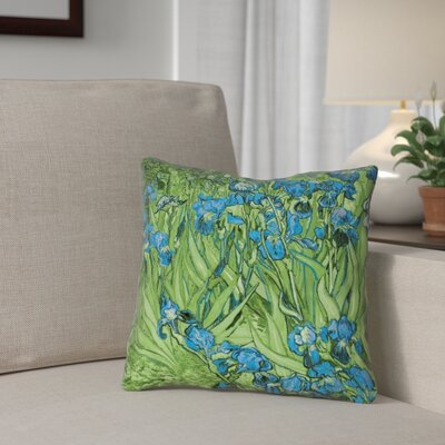 Morley 14 x 14 Irises in Green and Blue Pillow - Spun Polyester Double sided print with concealed zipper & Insert Color: Green/Blue, Size: 14 x 14