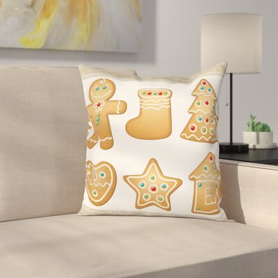 Gingerbread Man Cute Pastry Square Pillow Cover Size: 20 x 20