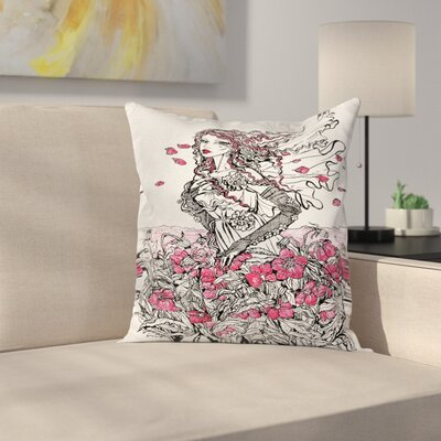 Flower Girl Sketch Pillow Cover Size: 18 x 18