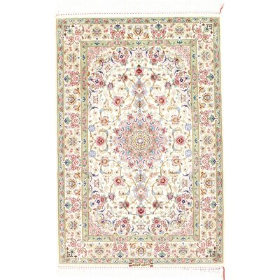 Persian Genuine Isfahan Hand-Knotted Ivory Area Rug